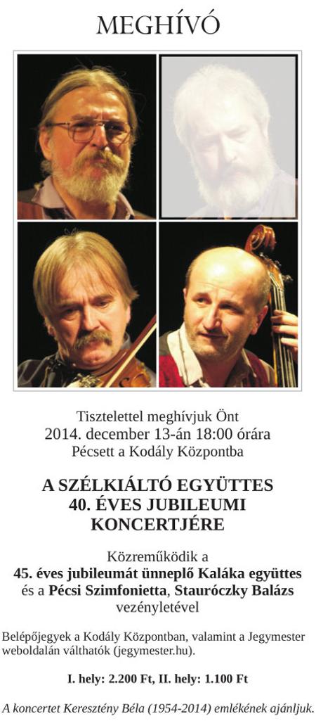 40. éves jubileumi koncert – meghívó